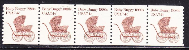 Baby Buggy 1880's 7.4c Plate Number Strip of 5   Plate number-2 VF/NH