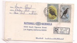 St Lucia 1980 Registered Cover from Vieux-Fort bird stamps (bac)