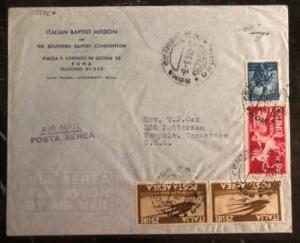 1950 Roma Italy Baptist Mission Airmail cover To Memphis TN USA