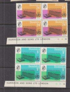 DOMINICA, 1966 WHO pair, Pl. #, Imprint blocks 4, mnh./lhm.