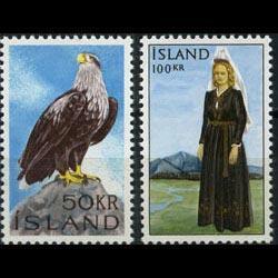 ICELAND 1965 - Scott# 378-9 Eagle and Costume Set of 2 NH