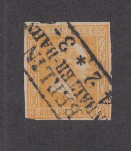 Prussia Sc 13 used 1860 3sg orange King Frederick William IV