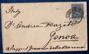 GB UK Sg 201 QV Postal Cover London To Genoa Italy 1892 Used