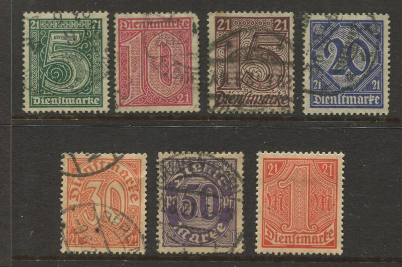 Germany -Scott OL9-OL15 -Local Offials -1920 -FU/MH - Wmk 125 - Set of 7  Stamp