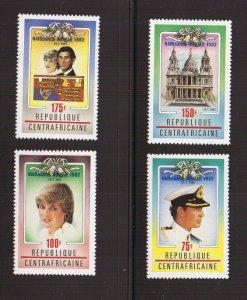Central African Republic  #529-532  MNH 1982  Royal wedding Diana  overprints