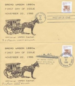2136  25c BREAD WAGON - Vapex cachet - both Official & Show canceled covers