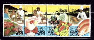 St Lucia 921 MNH 1988 Tourism strip of 4