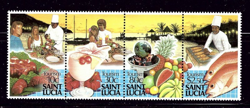 St Lucia 921 MNH 1988 Tourism strip of 4