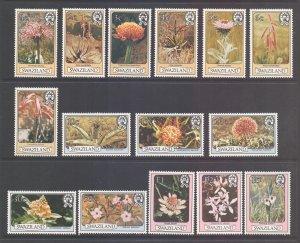 Swaziland Scott 346/360 - SG340a/354a, 1980 Flowers Set mint poor gum