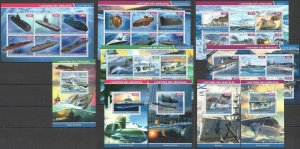 PE 2015 DJIBOUTI TRANSPORT HISTORY MILITARY SHIPS SUBMARINES !!! 5BL+5KB MNH
