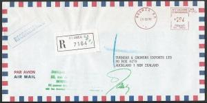 NEW CALEDONIA 1991 Registered airmail cover to NZ, Noumea meter............13231