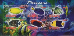 Fish Corals Marine Life Souvenir Sheet of 6 Stamps Mint NH