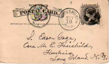 United States, Government Postal Card, Indiana