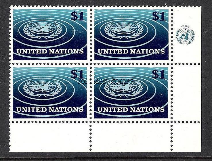 UNITED NATIONS 150 MNH BLOCK OF 4[D3]