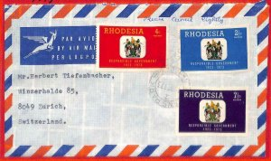 aa2364 - Rhodesia  - POSTAL HISTORY -  AIRMAIL COVER to SWITZERLAND  1973