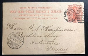 1895 London England Vintage Stationery postcard Cover To Dresden Germany
