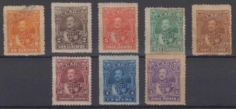 ECUADOR 1892 FLORES Sc 23-30 (14x) FULL SET OF REPRINTS HINGED MINT & USED+