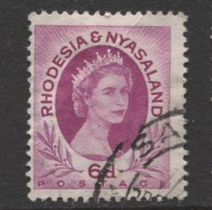 Rhodesia & Nyasaland -Scott 147-QEII Definitive -1954- MVLH- Single  6d Stamp
