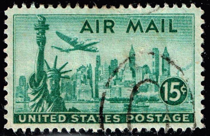 US STAMP AIR MAIL #C35 – 1947 15c New York Skyline USED XFS SUPERB