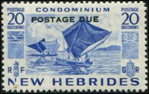 New Hebrides - British SC# J13 SG# D13 Sailing Canoe Postage Due 20c MH