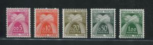 1960 France Postage Due Stamps #J93-J97 Mint Never Hinged Very Fine Set