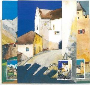 14654 - LIECHTENSTEIN - POSTAL HISTORY - Set of 3 MAXIMUM CARDS Architecture