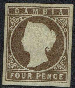 GAMBIA 1869 QV CAMEO 4D IMPERF NO WMK NO GUM