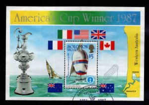 British Solomon Islands Scott 575 Used Americas Cup Yacht Race souvenir sheet