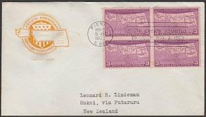 USA 1939 3c South Dakota FDC to New Zealand -  backstamped.................55630