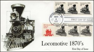 AO-2226-1, 1987, Locomotive 1870''s,  Add-on Cachet, First Day Cover, SC 2226