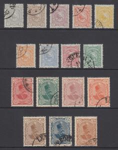 Iran Sc 136-151 used. 1899 Lion & Shah definitives, complete set