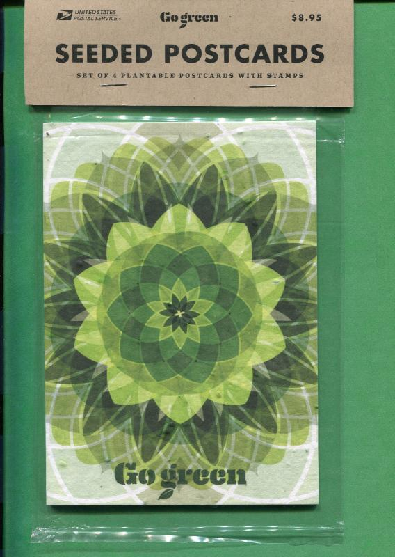 Go Green Seeded Postcards Set Of 4 Plantable Postcards With Stamps Brand New!