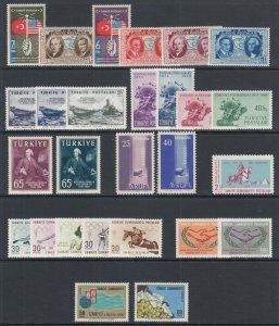 Turkey Sc 817/1754 MNH. 1939-1967 issues, 9 cplt sets, VF