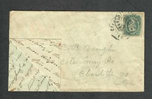 Charlottesville VA Cover Jan 27+28 1864 Adversity Envelope Old Letter SCA Sc#11c