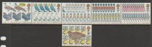 Great Britain SG 1044 - 1049 set Mint se-tenant strip of 5 plus SG  1049