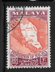 Federation of Malaya 83: 30c Map, used, F-VF