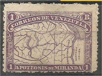 VENEZUELA, 1896, MH 1b, Map Scott 141