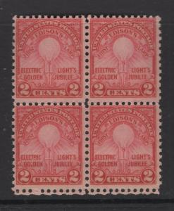 United States US Stamps 1927 Edison's First Lamp Scott 654 Block 4 Stamps OG/MNH