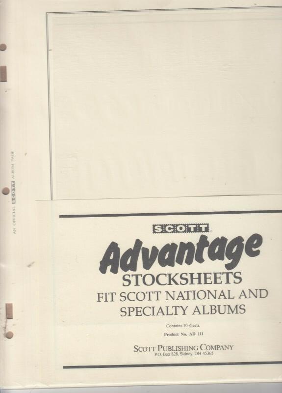 Scott Advantage Stocksheets National & Specialty Albums Pack of 10 Has 1 Pocket