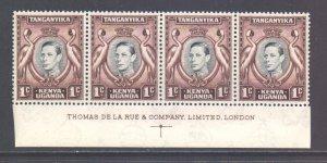 KUT SG131, 1938 George VI 1c Strip of 4 MH*
