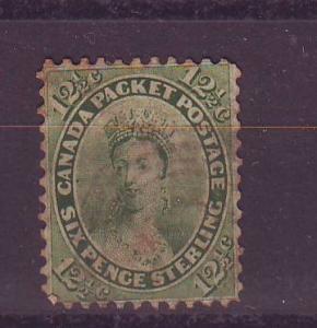 Canada Sc 18 1859 12 1/2 c Victoria stamp used light cancel