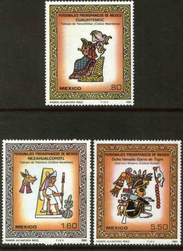MEXICO 1201-1203, Pre-Hispanic Art. MINT, NH. F-VF.