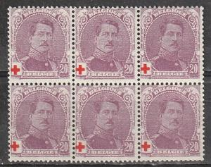 B27 Belgium Semi-Postal Mint OGNH block of 6