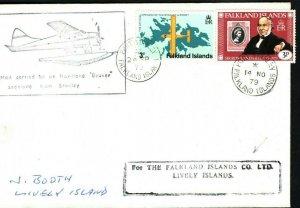 FALKLAND ISLANDS Co Cover Flight HAVILLAND BEAVER Lively Island 1979 LS133