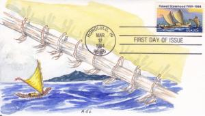 FDC: Hawaii Statehood, H/P by Mille, Mar 12, 1984 (9407)