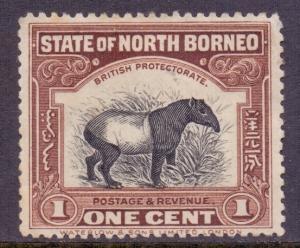North Borneo Scott 136 - SG158, 1909 Malayan Tapir 1c MH*