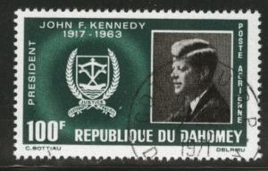Dahomey Scott C30 Used CTO 100fr 1965 JFK Air Post stamp