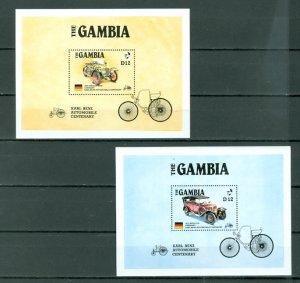 GAMBIA OLD CARS #628-629 SOUV. SHEETS...MNH...$16.00