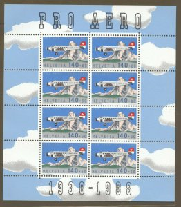 Switzerland, 1988 Pro Aero, Miniature Sheet of 8 MNH,  superb