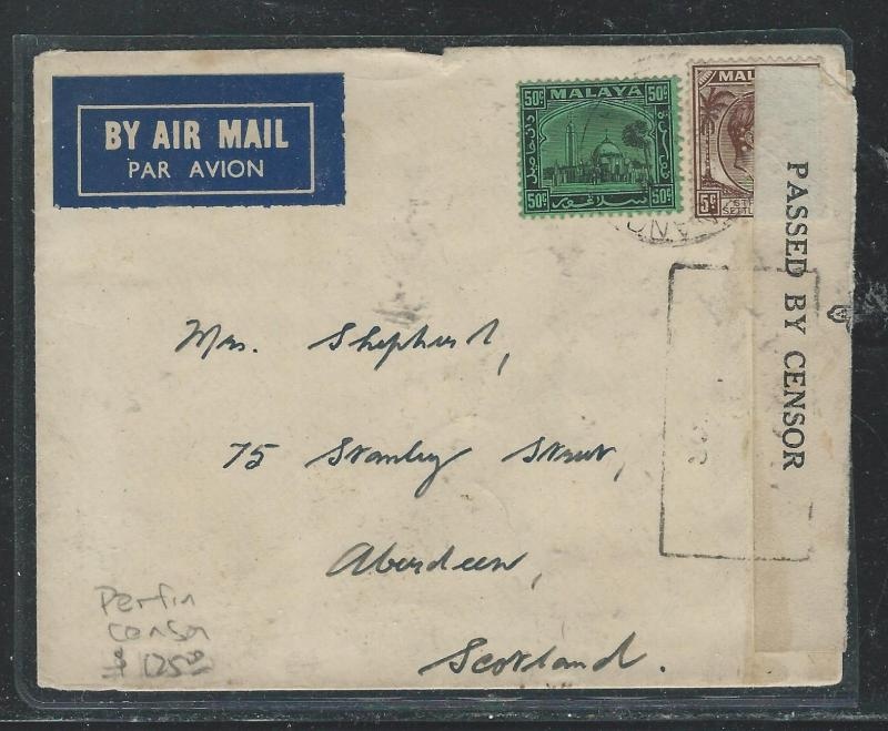 MALAYA SELANGOR (PP2508B) 50C MOSQUE+STRAITS KGVI 5C PERF IN A/M CENSOR TO UK